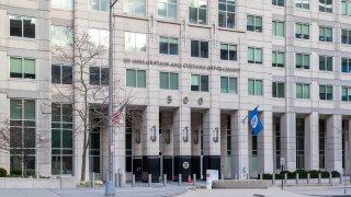 Washington D.C., USA - February 29, 2020: US Immigration and Customs Enforcement building in Washington, D.C. USA.