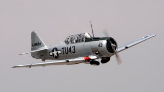 "A restored the WWII Tuskegee Airmen AT 6 Texan, ""Double Vee"" airplane will be at the Van Nuys Airshow, ""Rockin' Airfest 2006""."