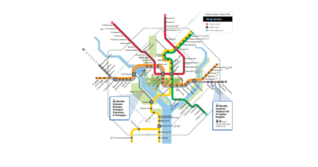This Metro map shows the rail system with no Blue Line service and two closed stations, Addison Road and Arlington Cemetery. The altered rail service will occur for three months in early 2021.