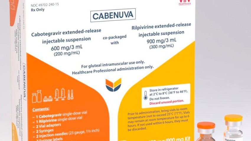 These illustrations, provided by drugmaker ViiV Healthcare on Thursday, Dec. 10, 2020, shows a rendering of the packaging and vials containing its new HIV treatment, Cabenuva, approved by the U.S. Food and Drug Administration on Thursday, Jan. 21, 2021. U.S. regulators have approved the first long-acting combo drug for HIV, monthly shots that can replace the daily pills that have been used for decades to control infection with the AIDS virus. Thursday's approval of Cabenuva is expected to make it easier for people to stay on track with their HIV medicines and to do so with more privacy.