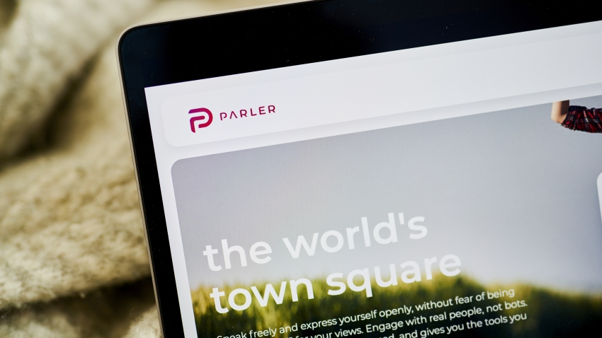 The Parler website home screen on a laptop computer