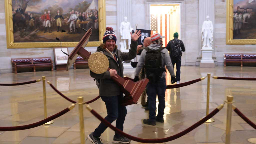Protesters enter the U.S. Capitol Building on January 06, 2021 in Washington, DC.