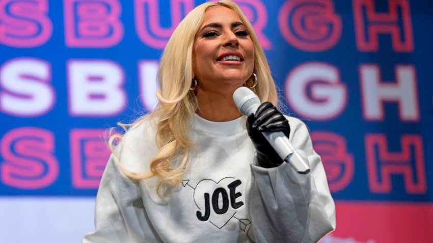 In this Nov. 2, 2020, file photo, singer Lady Gaga performs prior to Democratic presidential candidate Joe Biden's speech at a Drive-In Rally at Heinz Field in Pittsburgh, Pennsylvania.