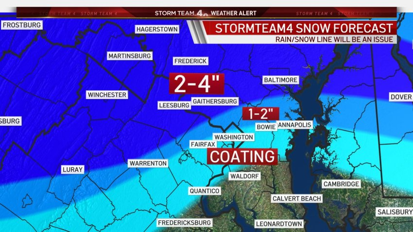 The forecast shows a possible coating of snow in DC, with 1 to 2 inches possible in the north and west suburbs, and 2 to 4 inches possible in upper Montgomery and Frederick counties and west of Dulles Airport