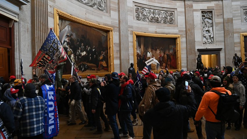 In this Jan. 6, 2021, file photo, supporters of President Donald Trump enter the U.S. Capitol's Rotunda.