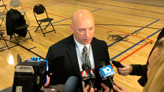 In this Jan. 30, 2020, file photo, Thomas Quinlan, chief of the Columbus Division of Police, speaks with the media at the Columbus Community Safety Advisory Commission in Columbus, Ohio. Quinlan was forced out Thursday, Jan. 28, 2021, after the mayor who hired him said he'd lost confidence in Quinlan's ability to make needed changes to the department, weeks after the police killing of Andre Hill.