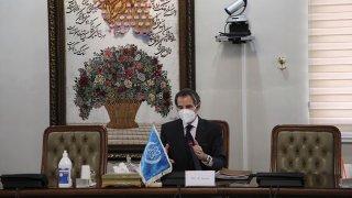 Director General of International Atomic Energy Agency, IAEA, Rafael Mariano Grossi speaks in a meeting with Iran's atomic chief Ali Akbar Salehi in Tehran, Iran