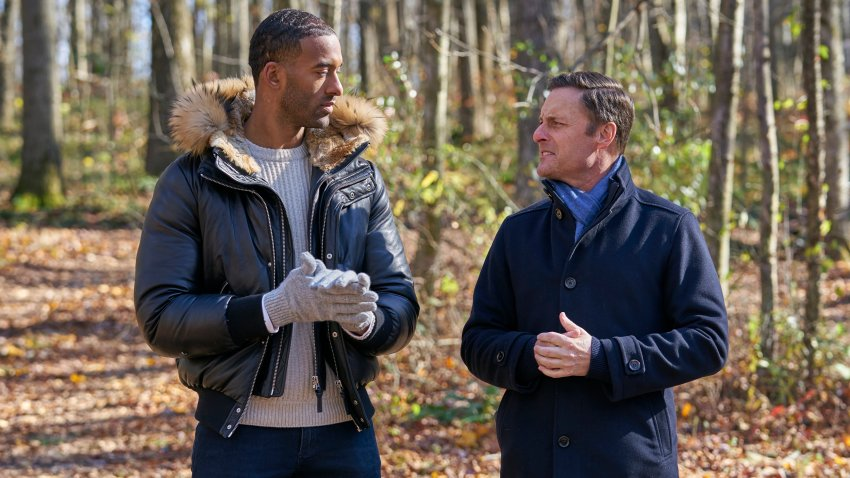 """The Bachelor"" star Matt James and host Chris Harrison are photographed on the Feb. 15, 2021, episode of ""The Bachelor."""