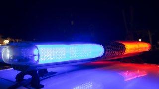 police lights at night