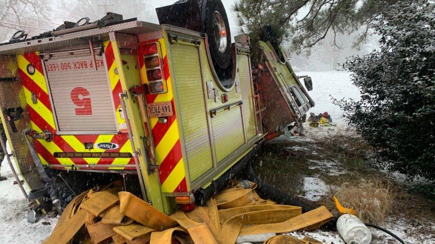 Henrico County flipped firetruck