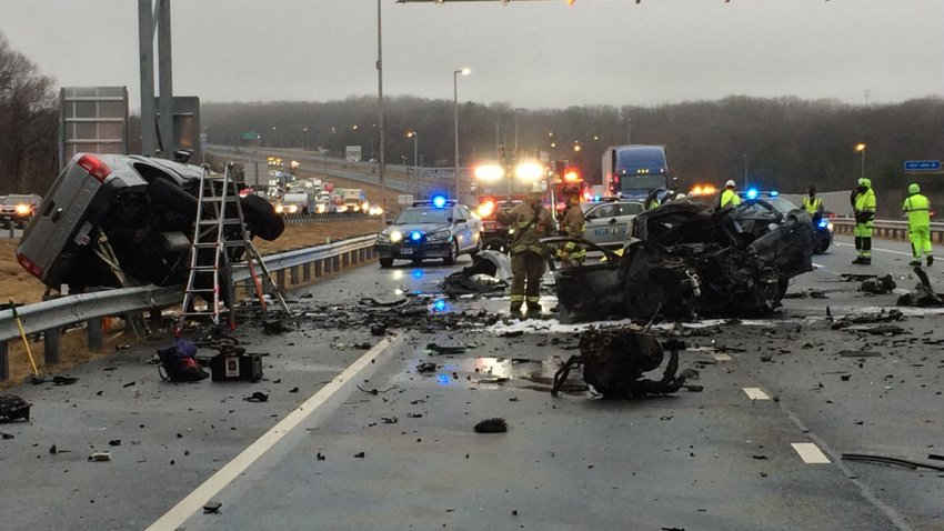The scene of a triple-fatal crash on I-95 express lanes.