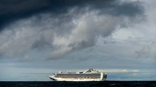 FILE - The Grand Princess cruise ship, carrying multiple people who tested positive for COVID-19, maintains a holding pattern about 30 miles off the coast of San Francisco, March 8, 2020.