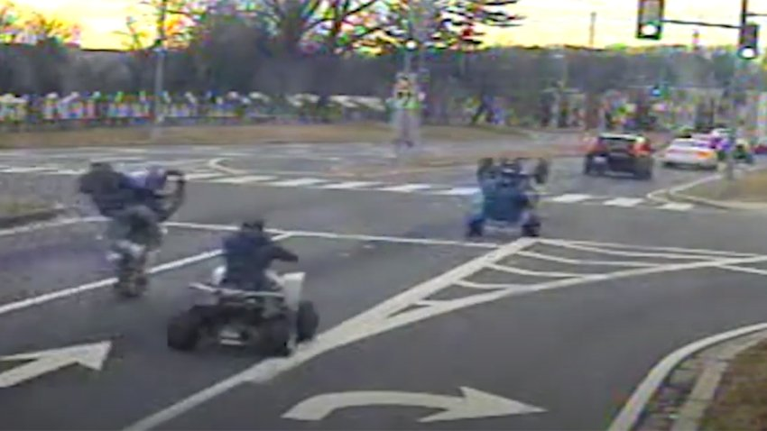 Video shows dirt bike and ATV riders believed to be with a dirt bike rider who shot at a motorist.