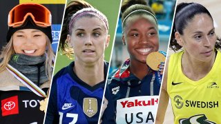 From left: Olympians Chloe Kim, Alex Morgan, Simone Manuel and Sue Bird will launch a new media platform highlighting achievements made by women in sports.