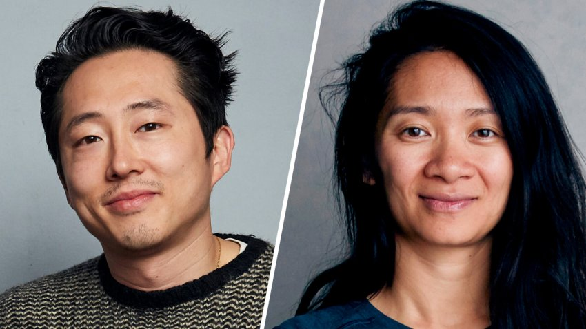 Asian American actor Steven Yeun, left, and director Chloé Zhao, right.