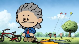 """This image released by PBS Kids shows an animated Temple Grandin, foreground, as other characters Yadina, from background left, Xavier and Brad fly kites in a scene from """"Xavier Riddle and the Secret Museum."""""""