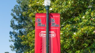 OXFORD, AS/USA - JUNE 7, 2018: Banner and logo to the campus of the University of Mississippi.