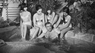 Scottish actor Sean Connery filming a bath scene for the James Bond film 'You Only Live Twice' at Pinewood Studios, UK, September 1966