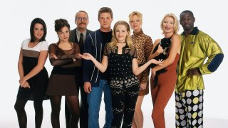 "Cast of ""Sabrina, The Teenage Witch."" Left to right: Jenna Leigh Green (as Libby Chessler), Lindsay Sloane (as Valerie Birkhead), Martin Mull (as Principal Willard Kraft), Nate Richert (as Harvey Kinkle), Melissa Joan Hart (as Sabrina Spellman), Caroline Rhea (as Hilda Spellman), Beth Broderick (as Zelda Spellman), Alimi Ballard (as Quizmaster Albert)."