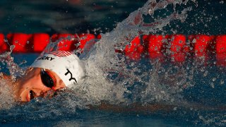Katie Ledecky competes at the TYR Pro Swim Series at Mission Viejo at Marguerite Aquatics Center.