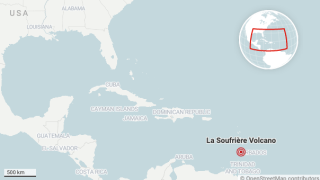 A map showing the location of the La Soufrière volcano on St Vincent, an island in the Caribbean.