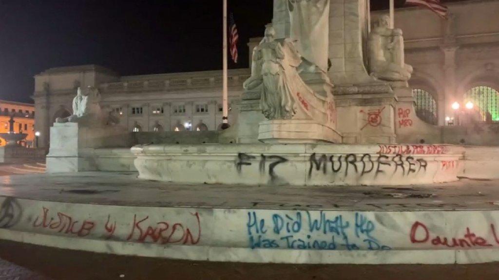columbus statue vandalized dc