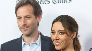 """Aubrey Plaza, right, and Jeff Baena arrive at the premiere of """"The Little Hours"""" at the 2017 Los Angeles Film Festival on Monday, June 19, 2017, in Culver City, Calif."""