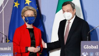 EU Commission President Ursula von Der Leyen, left, and Italian Premier Mario Draghi attend a press conference at the end of a virtual Global Health Summit, in Rome's Villa Pamphili, Friday, May 21, 2021. Leaders of the most industrialized countries met virtually for the summit and pledged to step up the production and distribution of anti-Covid vaccines.
