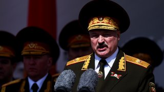 In this May 9, 2020, file photo, Belarusian President Alexander Lukashenko gives a speech during a military parade that marked the 75th anniversary of the allied victory over Nazi Germany, in Minsk, Belarus. When Lukashenko became president in 1994, Belarus was an obscure country that had not even existed for three years. Over the next quarter-century, he brought it to the world's notice via dramatic repression, erratic behavior and colorful threats.