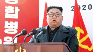North Korean dictator Kim Jong-un at the groundbreaking ceremony for the construction of Pyongyang General Hospital on March 17, 2020, North Korea.
