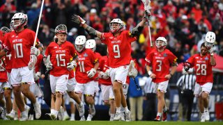 Maryland Terrapins players celebrate their win over the Duke Blue Devils during the Division I Men's Lacrosse Semifinals held at Pratt and Whitney Stadium at Rentschler Field May 29 in East Hartford, Connecticut.