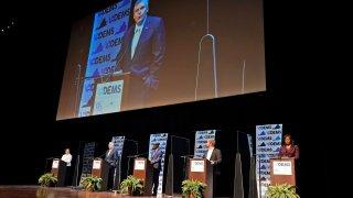 Democratic gubernatorial candidates debating on stage