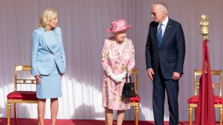 US President Joe Biden and First Lady Jill Biden with Britain's Queen Elizabeth II during a visit to Windsor Castle