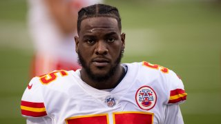 Kansas City Chiefs defensive end Frank Clark (55) walks on the sideline before an NFL football game against the Buffalo Bills, Monday, Oct. 19, 2020, in Orchard Park, N.Y.