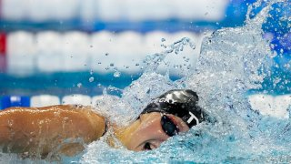 Katie Ledecky participates in the women's 200 freestyle during wave 2 of the U.S. Olympic Swim Trials on Wednesday, June 16, 2021, in Omaha, Neb.