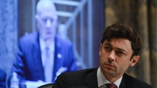 Senator Jon Ossoff, a Democrat from Georgia, listens during a Senate Homeland Security and Governmental Affairs Committee hearing in Washington, D.C., U.S., on Tuesday, June 8, 2021. The chief executive of the pipeline company hit by a ransomware attack last month apologized to the committee for the incident that paralyzed the East Coast's flow of gasoline, diesel and jet fuel.