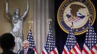 Merrick Garland, U.S. attorney general, speaks at the Department of Justice in Washington, D.C., U.S., on Tuesday, June 15, 2021.
