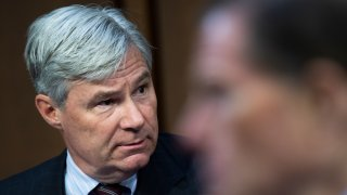Sen. Sheldon Whitehouse, D-R.I., speaks during the Senate Judiciary Committee markup on the Prohibiting Punishment of Acquitted Conduct Act of 2021 and other business in Hart Building on Thursday, June 10, 2021.