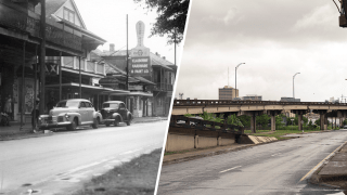 Split photos of North Claiborne and Ursunline Street in New Orleans taken decades apart.