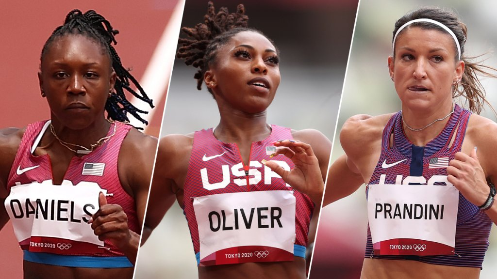 From left: Teahna Daniels, Javianne Oliver and Jenna Prandini competes during round one of the Women's 100m heats on day seven of the Tokyo 2020 Olympic Games at Olympic Stadium on July 30, 2021 in Tokyo, Japan.