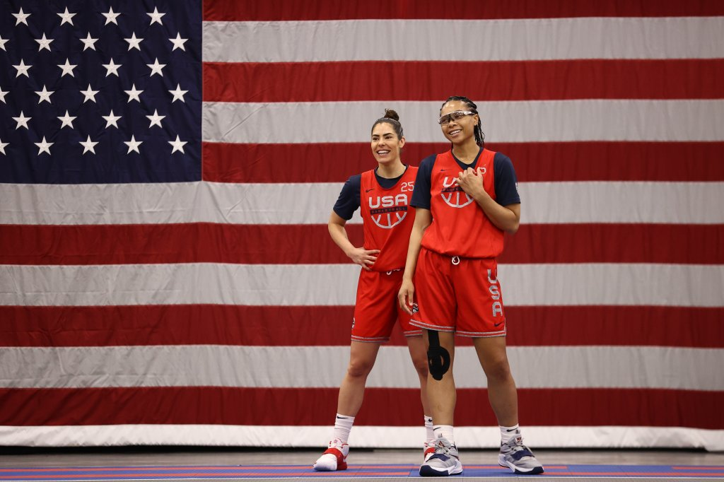 Kelsey Plum and Allisha Gray, right, of the USA Women's National 3x3 Team smile during USAB Womens 3x3 National Team practice at the Mandalay Bay Convention Center on July 17, 2021 in Las Vegas, Nevada.