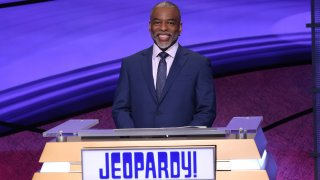 """This image provided by Jeopardy Productions, Inc. shows """"Jeopardy!"""" guest host LeVar Burton on the set of the game show."""