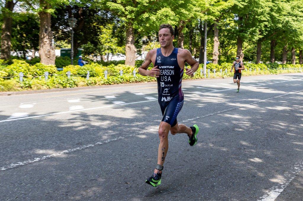 Morgan Pearson (bronze medal) of USA competes during the Elite Men event of the ITU World Triathlon Championship Series Yokohama on May 15, 2021 in Yokohama, Kanagawa, Japan.