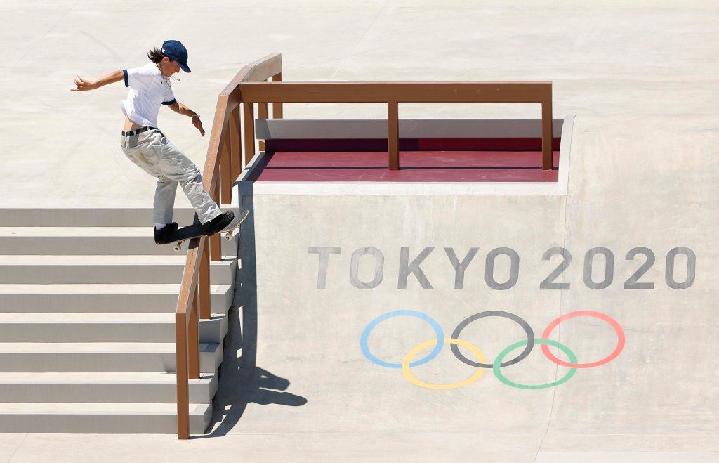 Alexis Sablone of Team United States practices on the skateboard street course ahead of the Tokyo 2020 Olympic Games on July 21, 2021 in Tokyo, Japan. Skateboarding is one of new sports at 2021 Olympics Summer Games.