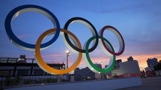 Olympic rings stand in the evening twilight.