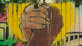 A mural on a fence is displayed at United Fort Worth