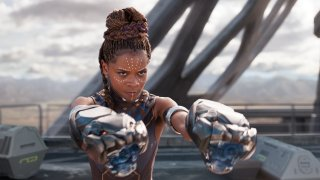 """This image released by Disney -Marvel Studios shows Letitia Wright in a scene from """"Black Panther."""" Wright is being treated in a hospital after sustaining minor injuries on the Boston set of """"Wakanda Forever."""" A Marvel spokesperson says in a statement Wednesday, Aug. 25, 2021, that the incident happened while filming a stunt for the sequel and that she is expected to be released from the hospital soon. Wright is reprising her role as Shuri in """"Wakanda Forever,"""" which is being directed by Ryan Coogler."""