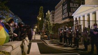 Protestors confront police in Black Lives Matter Plaza on Aug. 30, 2020.