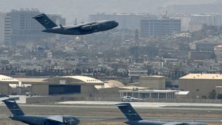 US Air Force aircraft taking off