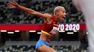 Yulimar Rojas of Team Venezuela celebrates in the Women's Triple Jump Final on day nine of the Tokyo 2020 Olympic Games